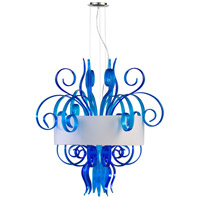 Jellyfish Cyan 8 Light 39 inch Chrome Pendant Ceiling Light, Large