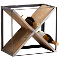 Cyan Design 04859 Cube Raw Iron and Natural Wood Wine Holder