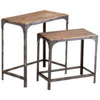 Winslow 26 X 25 inch Raw Iron and Natural Wood Nesting Table