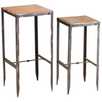 Camelback 14 X 14 inch Raw Iron and Natural Wood Nesting Table Home Decor