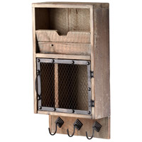 Casey Raw Iron and Natural Wood Wall Organizer