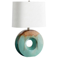Oh 25 inch 100 watt Blue Glaze and Brown Table Lamp Portable Light