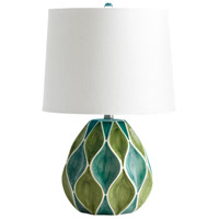 Glenwick 22 inch 100 watt Green & White Glossy Table Lamp Portable Light