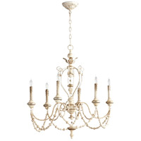 Cyan Design 05783 Florine 6 Light 29 inch Persian White and Mystic Silver Chandelier Ceiling Light