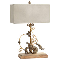 Cyan Design 05931 Lindley 35 inch 100 watt Sawyers Wht Wash Plantation Brnze Table Lamp Portable Light