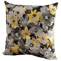 Field Of Flowers 18 X 18 inch Grey and Gold Pillow