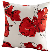 Petal 22 X 22 inch Red and White Pillow