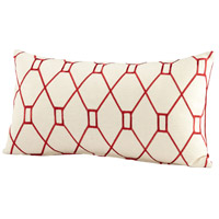 Obstruction 24 X 14 inch Red and White Pillow