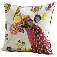 Peacock 22 X 22 inch Fuschia and White Pillow