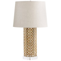 Woven Gold 25 inch 14 watt Antique Gold Table Lamp Portable Light