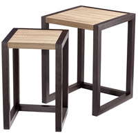 Becket 24 X 18 inch Oak Veneer & Black Veneer Nesting Table