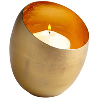 Cyan Design 07108 Minerva Antique Brass and Gold Leaf Candleholder Small Candle(s) not included