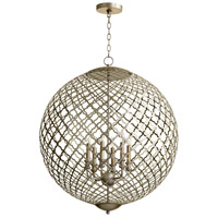 Skyros 6 Light 30 inch Silver Leaf Pendant Ceiling Light