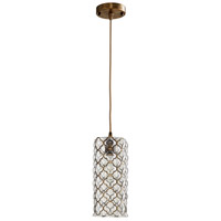 Cyan Design 07979 Corsica 1 Light 5 inch Clear and Satin Brass Pendant Ceiling Light Small