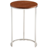 Azucar Oak and Stainless Steel Side Table Home Decor