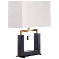 Aspro 22 inch 100 watt Polished Brass and Black Table Lamp Portable Light