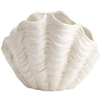 Michelle My Shell White Crackle Outdoor Planter, Small