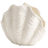 Michelle My Shell White Crackle Outdoor Planter, Large