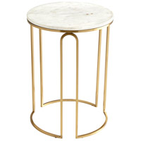 Metallic Tower 18 inch Antique Brass Side Table