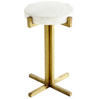Discus 16 inch White and Gold Side Table