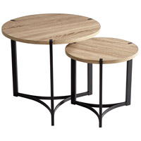Tri Oak Veneer and Black Nesting Tables Home Decor