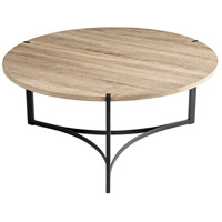 Tri Oak Veneer and Black Coffee Table Home Decor