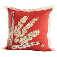 Cyan Design 09409 In Fine Feather 18 X 18 inch Red and White Pillow