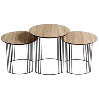 Electric Moon Oak Veneer and Black Nesting Tables Home Decor