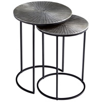 Anais 16 inch Silver and Black Nesting Tables, Set of 2
