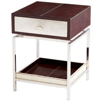 Curtis 24 X 18 inch Stainless Steel and Brown Side Table