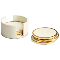 Cyan Design 09792 Gatsby Brass and White Coasters, Set of 7