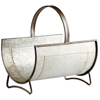 Cyan Design 09848 Stockton Galvanized Metal and Brown Magazine Rack