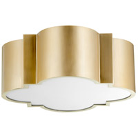 Wyatt 2 Light 16 inch Aged Brass Flush Mount Ceiling Light