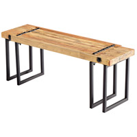 Countess Raw Iron and Natural Wood Bench