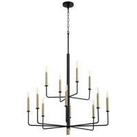 Cyan Design 10968 Apollo 12 Light 33 inch Noir/Aged Brass Chandelier Ceiling Light