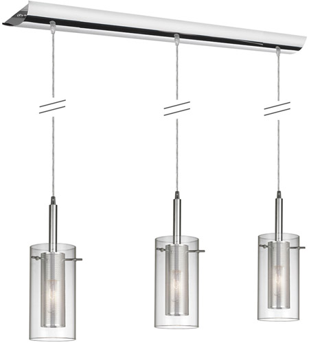 Dainolite 30963-CM-PC Mesh with Glass 3 Light 6 inch Polished Chrome Pendant Ceiling Light photo