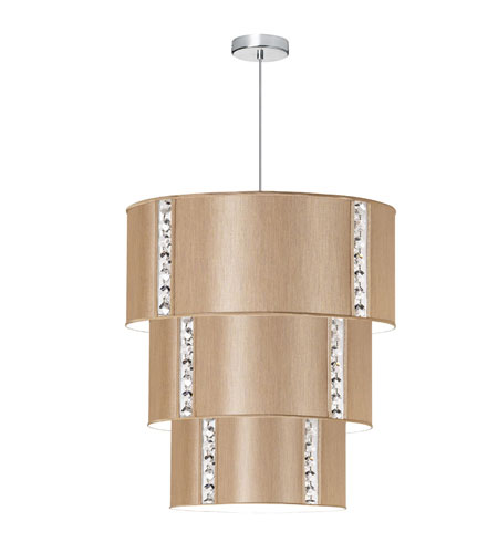 Dainolite Elise 8 Light Pendant in Polished Chrome with Silk Glow Latte Shade 571890-838-PC photo