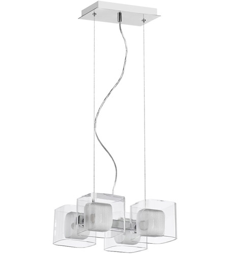 Dainolite Lighting Mesh with Glass 4 Light Pendant in Satin Chrome  60154-CM-SC photo