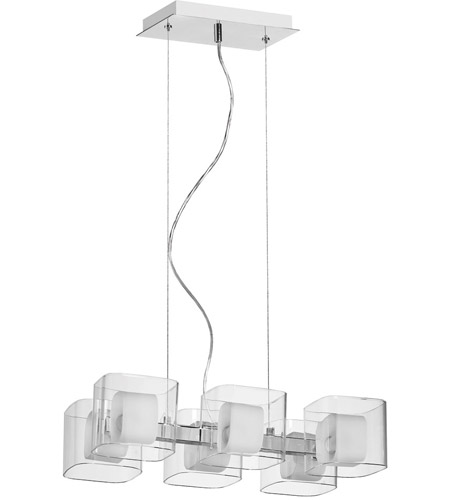 Dainolite 60156-PC Frosted Glass 6 Light 12 inch Polished Chrome Pendant Ceiling Light photo