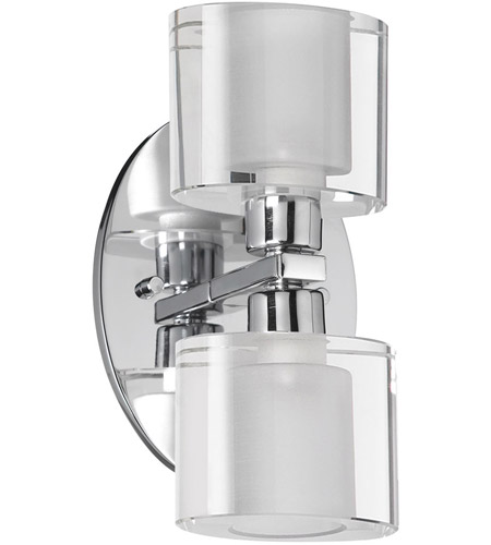 Dainolite 809-2W-PC Frosted Oval 2 Light 8 inch Polished Chrome Vanity Wall Light photo