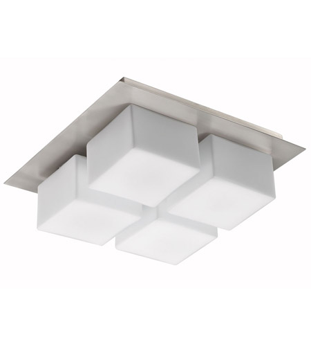 Dainolite Lighting Square White Glass 4 Light Wall or Ceiling Convertible in Satin Chrome  83553-SC photo