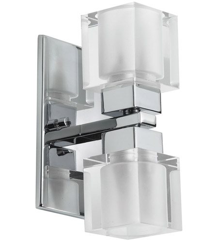 Dainolite 83889A-PC Glass Cube 2 Light 4 inch Polished Chrome Vanity Wall Light photo