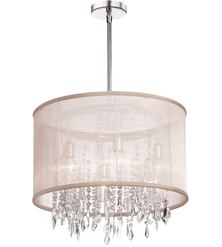 Dainolite Bohemian 6 Light Chandelier in Polished Chrome with Oyster Organza Shade 85301-PC-117 photo