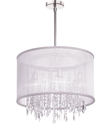 Dainolite Bohemian 6 Light Chandelier in Polished Chrome with White Organza Shade 85301-PC-119 photo