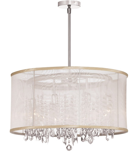 Dainolite Bohemian 8 Light Chandelier in Polished Chrome with Oyster Organza Shade 85302-PC-117 photo