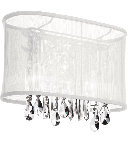 Dainolite Bohemian 1 Light Sconce in Polished Chrome with White Organza Shade 85306W-46-119 photo