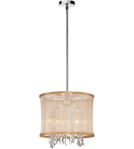 Dainolite Lighting Organza Bling 3 Light Chandelier in Polished Chrome  85312-111-PC photo