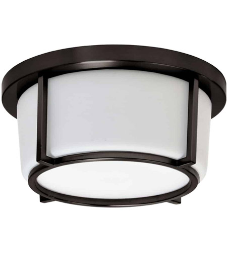 Bronze and White Signature Flush Mounts