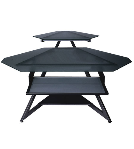 Dainolite Lighting Computer Table Furniture in Black Glass and Black Graphite  DCT-312-BGL-BK photo