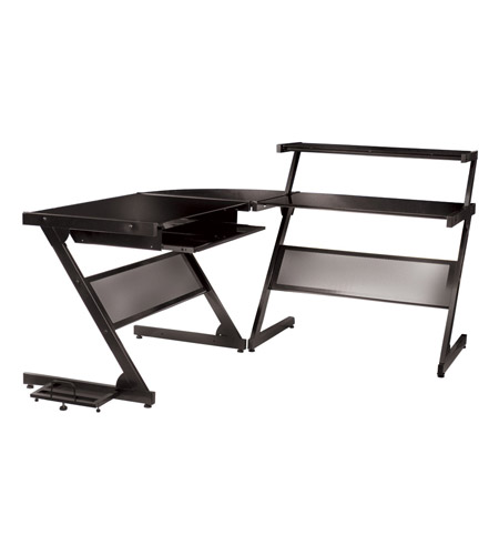 Dainolite Lighting Work Station Furniture in Black Glass and Black Graphite  DCT-340-BGL-BK photo